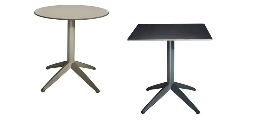 Braga flip top tables, lightweight, round or square.