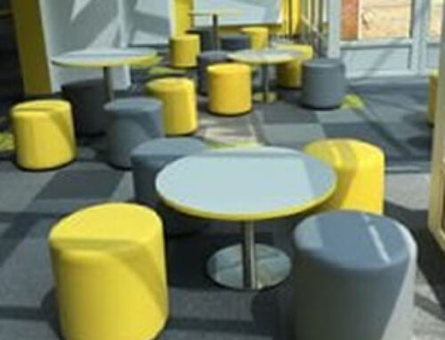 Colourful soft stools at The Nest in Horsford, Norfolk