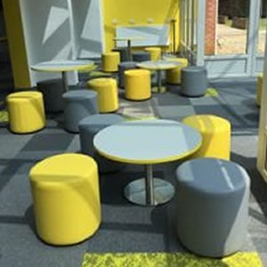 Colourful soft stools look good at The Nest in Horsford, Norfolk