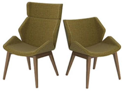 Skara chairs with piping/buttoning detail