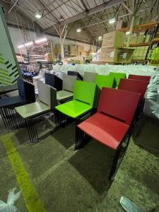 A sea of colourful chairs